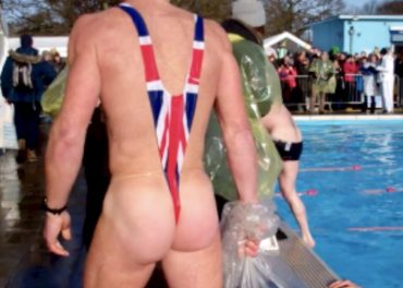 Swimmers Brave Icy Waters - the man-kini