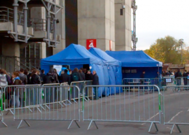 Blue tents for London auditions