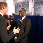 Idris Elba interacting with Prince William