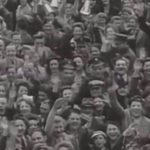 Jubilant crowd on VE Day 1945