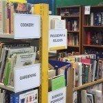 library shelves full