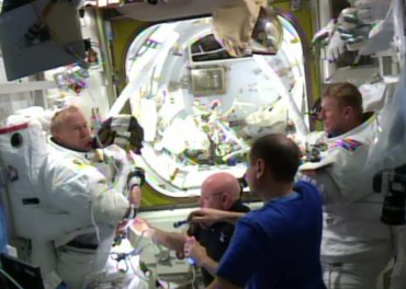 both astronauts back inside