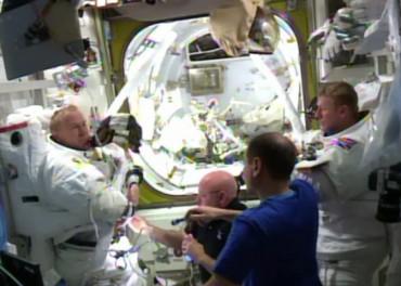 both astronauts back inside