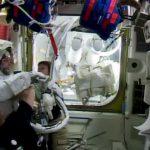 astronauts back inside ISS