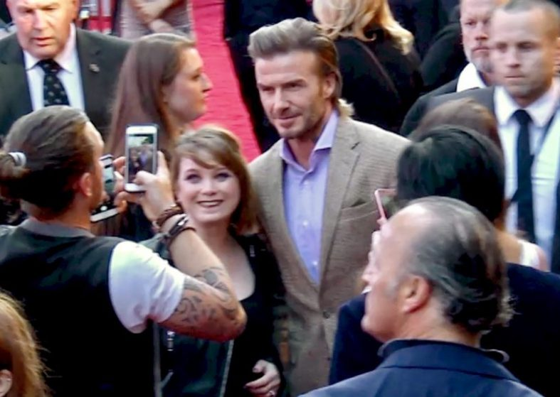 David Beckham with fans