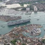 Aerial Video Arrival HMS Queen Elizabeth Aircraft Carrier