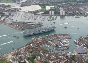 Aerial Video Arrival HMS Queen Elizabeth Aircraft Carrier