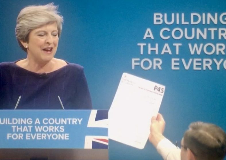 Theresa May Handed P45 Protest