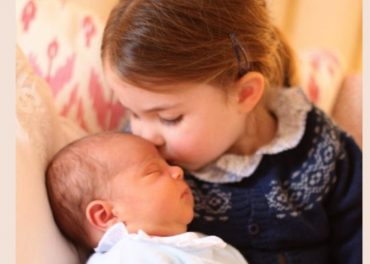Princess Charlotte with Prince Louis