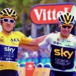 crossing finish line with Froome