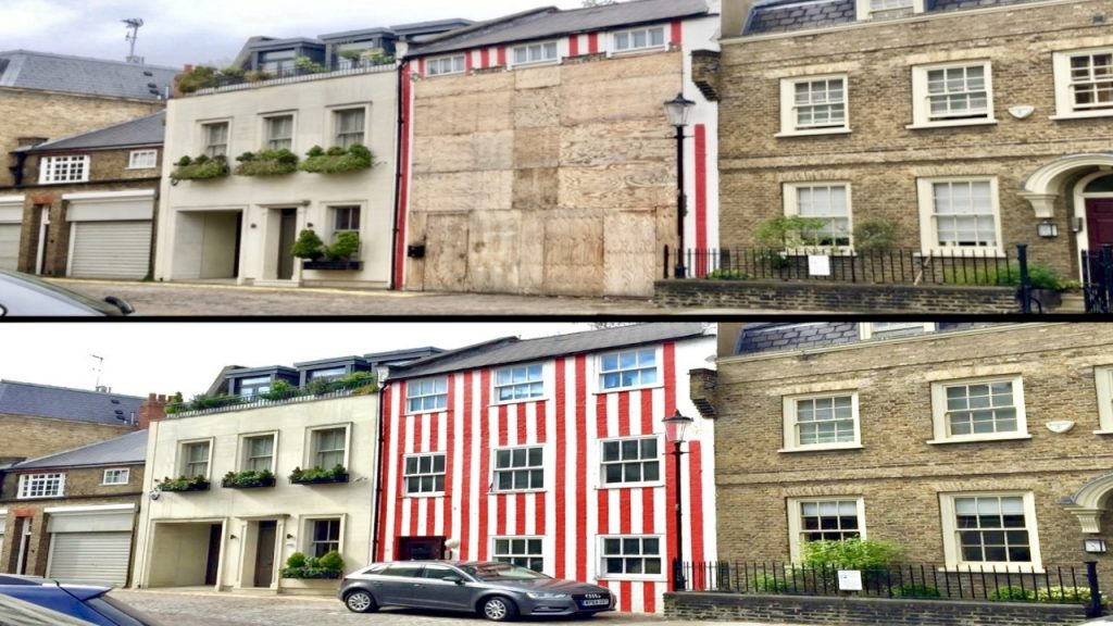 Red Striped House Covered Up