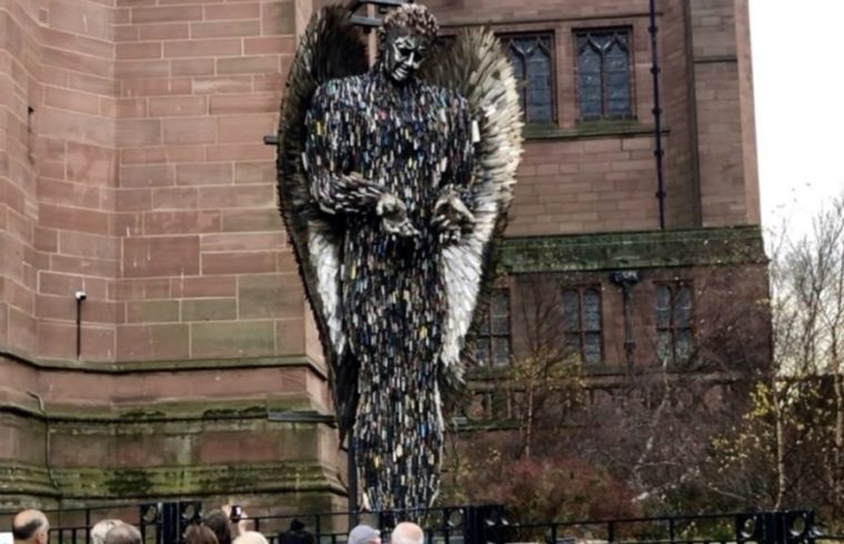 Knife Angel Lands In Liverpool