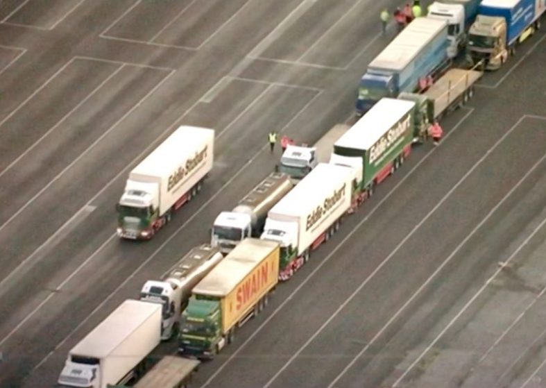 Lorries Operation Brock Brexit Test Run