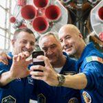 Luca, Drew and Alexander take a selfie with their Soyuz spacecraft