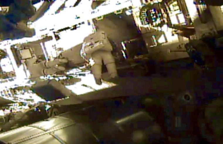 two female astronauts outside ISS