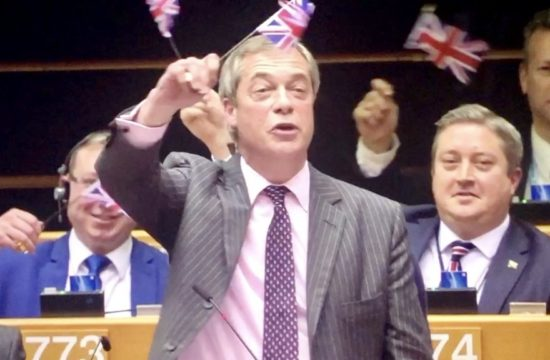 Nigel Farage Waves Flag as Goodbye to EU
