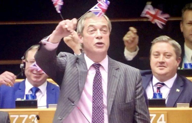 Nigel Farage Waves Flag as Goodbye to EU