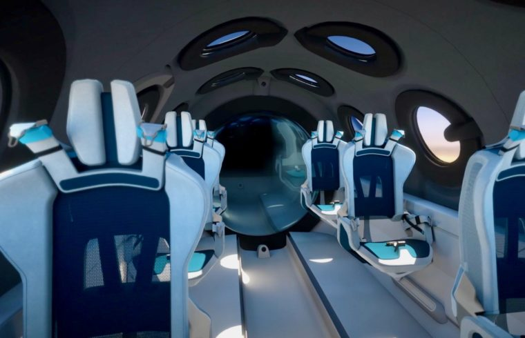 Inside Virgin Galactic Space Plane for tourists