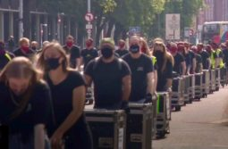 Hundreds march for 'forgotten' live event workers