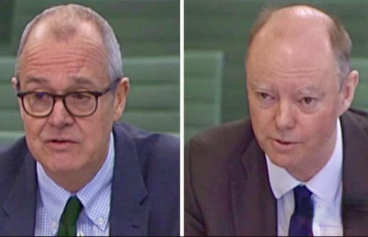 Sir Patrick Vallance Prof Chris Whitty face MPs