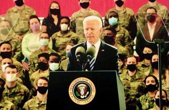 Joe Biden addressed troops at RAF Mildenhall
