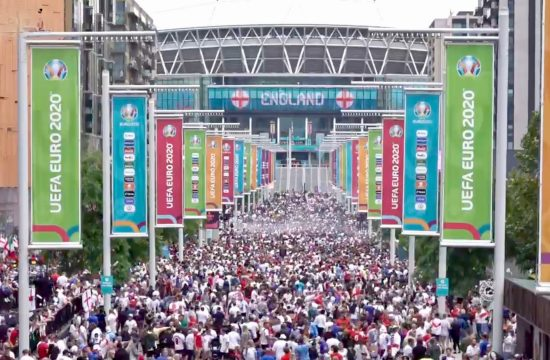 Fans gather to watch England vs Italy final