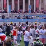 supporters gathering Trafalgar Square