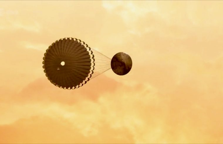Drop test for touchdown on Mars